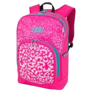 Skechers Backpack Pink Leopard with Laptop Sleeve